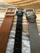 Lot Of 3 Women's Belts Leather Brown, Black And Silver Length 39, 38 And 40 Inches