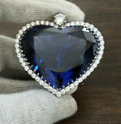 245 Ct Blue Heart Blue Sapphire Menand039s Heart Of Ocean Large Pendant White Gold Fn