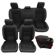 Black Front And Rear Seat Covers Leather For 2013-2018 Ram 1500 2500 3500 Crew Cab