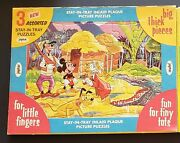 1960,s Antique Jaymar Vintage Disney Set Of 3 Puzzles With Package Stay In Tray
