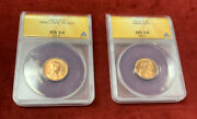 1970-s Small And Large Date Lincoln Memorial Pennies Graded Ms64 Red By Anacs