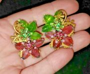 Miriam Haskell Frank Hess Clip On Earrings Vintage Signed
