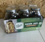 Ball Wide Mouth Canning Mason Jars, Half Gallon Clear Glass Jar, 64oz, Pack Of 6
