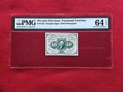 Fr-1242 First Issue 10c Cent Fractional Postage Currency Pmg 64 Epq Choice Unc