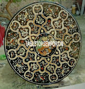 36 Black Marble Dining Table Top Marquetry Gemstone Inlay Christmas Decor Gifts