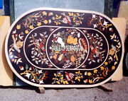 36x48 Black Marble Dining Table Top Multi Floral Inlay Gems Christmas Decor
