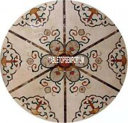36 Marble Top Dining Table Marquetry Inlay Living Room Occasional Decorative