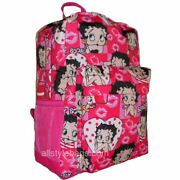 Betty Boop Canvas School Backpack Book Pink Red Sport Pockets