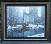 Signed Alexei Butirskiy Cityscape Rolled Giclee Central Park New York 44 X 38.5