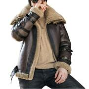 Mens Real Sheep Leather Motorcycle Jackets Cashmere Lined Warm Thicken Outdoor L