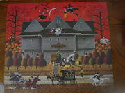 Rare Mb Charles Wysocki 1000 Witch's Brew Halloween Jigsaw Puzzle Used Complete