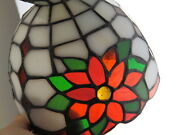 Partylite Style Stained Glass Christmas Poinsettia Votive Candle Lamp