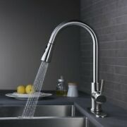 Single Lever Pull Down Kitchen Sink Faucet Tap Brushed Nickel Stainless Steel Us
