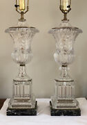 Vintage Pair French Neoclassical Crystal Glass Marble Urn Lamp Baccarat Style