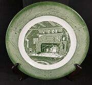 Vintage 1950and039s Colonial Homestead Green By Royal 10 Dinner Plate Made In Usa
