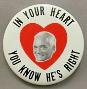 1964 Goldwater In Your Heart You Know Heart 3.5 Pinback Button President Z