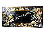 4and039x3and039 Marble Black Restaurant Dining Table Top Marquetry Inlay Home Decor H5687a