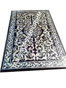 5and039x3and039 Black Marble Conference Table Top Mother Of Pearl Inlay Hallway Decor E767