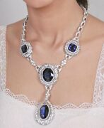 Blue Oval And Cushion 925 Sterling Silver Vintage Style Halo Statement Necklace