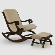 Wood Rocking Rolling Chair With Footrest And Cushion Antique Vintage Home Office