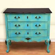 Wood Chest Of 3 Drawers Antique Vintage Home Office Furniture Decor