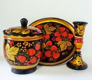 Vintage Russian Lacquer Set Hand Painted Signed Lidded Bowl Platter Candlestick