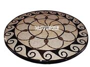 48 Black Marble Top Dining Table Precious Marquetry Inlay Living Home Decor