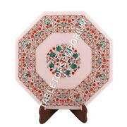18 Marble Coffee Table Top With Stand Carnelian Malachite Inlay Decor M069