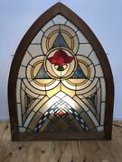 Antique Arched Ex Church Stained Glass Window With Rose Center Pattern 55 X 43