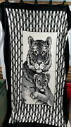 San Marcos Black-and-white Reversible Mexican Blanket Tiger And Cub 60x90 Large
