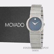 Authentic Movado Womenand039s Stainless-steel Blue Dial Watch 0604531
