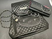 Rare Sanrio Hello Kitty Black Backpack And Wallet Faux Leather Studded Chain