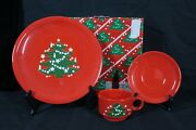 Discontinued Waechtersbach Germany Christmas Tree Pattern 3 Pc Buffet New In Box