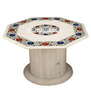 32and039and039 Marble Top Coffee Table With Stand Pietra Dura Gemstone Inlay Work Decor