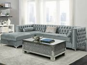 Modern Glam 2-piece Sectional Sofa With Bench Seat And Storage Chaise, Gray Velvet