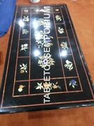 4and039x2and039 Black Marble Dining Side Top Table Inlay Marquetry Restaurant Dandeacutecor E962