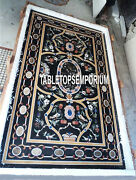4and039x3and039 Black Marble Dining Table Top Pietra Dura Gems Inlay Christmas Home Dandeacutecor