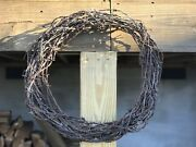 Vintage Rustic Barbed Wire Wreath - Naturally Rusty Direct From The Fence Line