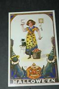 Antique Halloween Postcard Woman Holding Apple Rt Hand And Knife In Lt Hand 1911