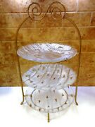 Vintage Gold Tone 3 Tier Metal Pie Plate Holder W/ 3 Glass Plates