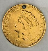 Rare 1854o 3 Indian Princess Gold Coin-vf/xf Detail-neatly Holed-24000 Mintage