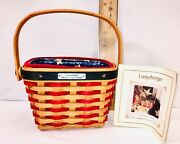 Longaberger 2001 Inaugural Basket With Combo Liner Protector Signed Larry And Mary