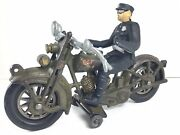 Antique Hubley Harley Davidson Cast Iron Motorcycle W/ Policeman Driver