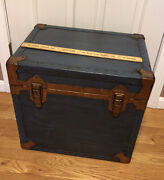 Vintage 1955 United States Trunk Co Wood Steamer Trunk With Brass Fit Repurposed