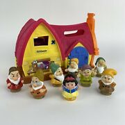 Fisher-price Disney Little People Princess Snow White's Cottage And 7 Dwarfs Rare