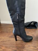 Leather High Heel Knee Boots Women Size 7 Cesare Gaspari Made In Europe