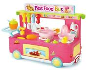Fast Food Bus Wheel Kitchen Tools Play Set Toy 29pcs Pink W/ Lights And Sounds New