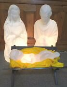 Empire Nativity Mary, Joseph And Jesus Blow Mold. Vintage White Marble Version