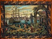 Magnificent French Antique Tapestry 3.5and039 X 5.5and039 17th-century Scenery Rare
