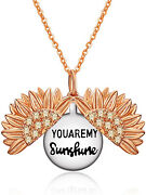 Sterling Silver Rose Gold-tone Sunflower Necklace Locket You Are My Sunshine 20